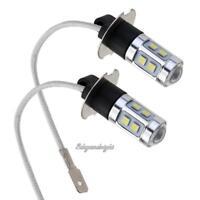 2pcs H3 3030 10SMD Bright White LED Car Headlight Bulbs Front Fog Light Lamp 12V