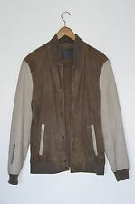 *AWESOME SAUCE* AllSaints Mens DELTA Leather suede Varsity Bomber Jacket MEDIUM