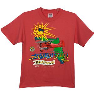 Hanes Heavyweight 50/ 50 Men T Shirt Shot Sleeve Sun N Fun EAA Fly In Size M VTG