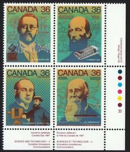 HISTORY = SCIENCE & TECHNOLOGY-2 = Canada 1987 #1138a MNH LR Block of 4