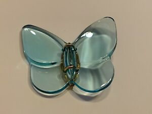 Baccarat 18K Yellow Gold Blue Crystal Butterfly Brooch