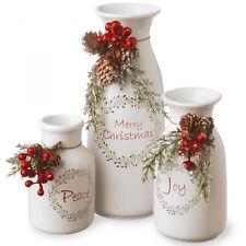 Ceramic Milk Bottles Christmas Centerpiece Jar Decorative (White) (3-Piece)