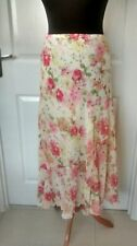 Womens Ladies Cream Pinks Floral Floaty Fully Lined Skirt Size 14-16 Pos M+S NEW