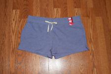 NEW Womens EDDIE BAUER Heather Misty Blue Lounge Short Sweat Shorts Size XL
