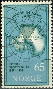 Norway Antarctic territory claim Map stamp 1957 A-24