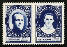1961-62 1961 TOPPS HOCKEY STAMP PAIR WAX PACK INSERT HQ EDDIE GERARD JOE MALONE