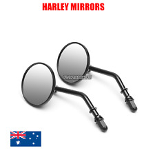 "Black 3"" round motorcycle rear view mirrors Harley dyna fatboy softail sportster"