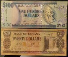 GUYANA 100 Dollars  2012   &    20 Dollars 2010      P-36b.2 & P-30e.2