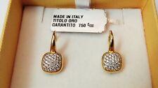 Orecchini Oro Giallo 750/18 con Pavè di Zirconi Bianchi