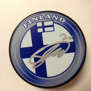 Sebastian Aho Signed Team Finland Hockey Puck Autographed Go Hurricanes a