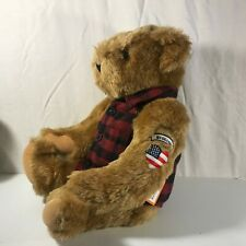 Vermont Teddy Bear Huggaboo American Flag Tattoo Heart Red Plaid Shirt