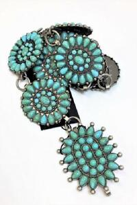 Western Concho Chain Hip Belt Vintage Boho Turquoise Stone Rodeo