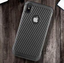 For iPhone X / XS - Carbon Fiber Armor Hard Hybrid Shockproof Case Cover Black