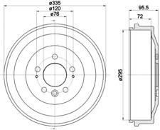 2x Bremstrommel Textar 94043900 für VW