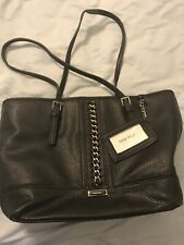 Nine West Large Black Purse Tote Bag Silver Chain & Buckle Thin Straps