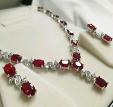 White gold finish red ruby and created diamond Necklace earring set free postage