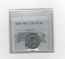 **1942 Nickel**, Coin Mart Graded Canadian, Five Cent, **EF-45**