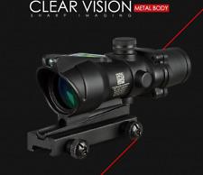 Hunting Riflescope ACOG 4X32 Real Fiber Optics Green Dot Illuminated Chevron