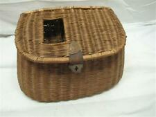 Vintage Wicker & Leather Fly Fishing Trout Fish Creel Basket Pouch Fishing