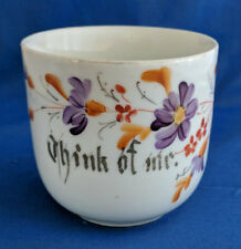 Antique Made In Germany Think Of Me Mug Cup Purple Orange Flowers