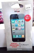 VERIZON DISPLAY PROTECTORS 3 PACK FOR A I PHONE 4