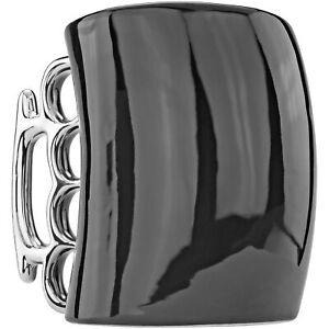 Black Cup Knuckle Duster Handle Coffee Tea Mug Ceramic Brass Knuckles Gag Gift