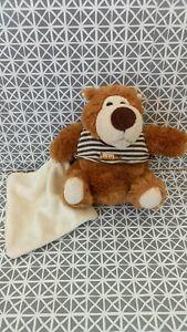 Doudou ours brun marron beige pull rayé mouchoir blanc  Baby Nat
