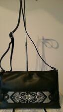 Vershe* lovely Milleni handbag, shoulder, Cross body, black, fancy stitching NWT