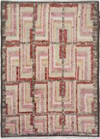 Thick-Plush Geometric Moroccan Shaggy Area Rug Hand-Knotted Modern Carpet 9'x11'