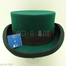 VINTAGE Wool Felt Topper Top Hat Men Victorian Coachman Tuxedo | 59cm | Green
