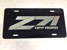 Chevrolet Z 71 LOGO Car Tag Diamond Etched on Black Aluminum License Plate