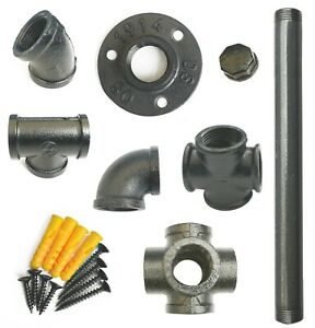 Industrial Pipe Shelf Bracket Components In Various Thickness (Grey)