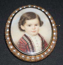ANTIQUE FRENCH VICTORIAN GOLD PEARLS PAINTED MINIATURE CHILD PORTRAIT BROOCH