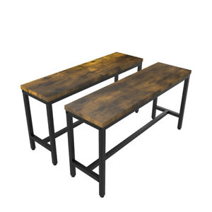 2 Wooden Bench 97CM Kitchen Dining Room Hallway Kitchen Long Seat Chair Backless