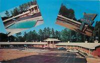 Chattsworth Georgia~Colonial Pines Motel~Neon Arrow Sign~1950s Cars~Postcard