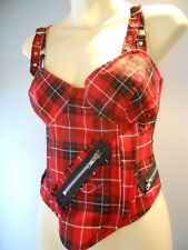 Nos Lip Service Red Tartan Plaid Bandage Punk Cropped Camisol Tank Top Blouse L