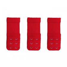 3 rallonges extensions soutien gorge rouge , 2 crochets - 3 x 8/10 cm
