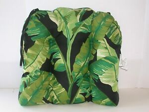 "Outdoor Wicker Seat Pad ~ Onyx Cebu Green Black ~ 20"" x 18"" x 3.5"" **NEW**"