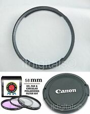 UV PL FLD Filter + Adapter Ring + Lens Cap For Canon SX10 IS SX10IS Camera U&S