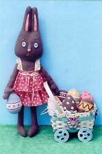 Primitive Pattern Chocolate Bunny Girl Beautiful Bunny & colorful eggs to  make!