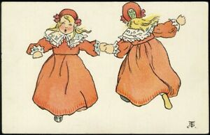 GIRLS DANCING Blond Children in Orange Postcard c 1910 Paul Heckscher