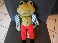 doudou peluche grenouille veste costume bleu rouge IKEA 37cm