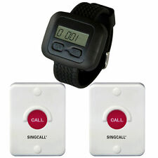 SINGCALL Wireless Bathroom Calling System,Paging System,1 Watch, 2 Buttons