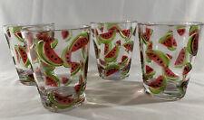 Set of 4 C & C Stemless Acrylic Wine Glasses Drinkware Watermelon Theme, NEW