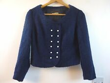 Unbranded true vintage lined wool? navy military style cropped jacket size S
