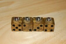 DUDDS DICE OLYMPIC GOLD w/BLACK VALVE STEM CAPS (4PACK) FITS FORD,CHEVY #38