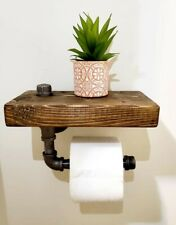 Rustic Bathroom Toilet Paper Holder with Shelf  - Industrial Decor - Farmhouse
