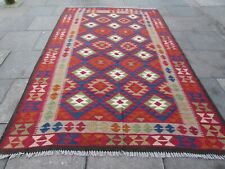 Kilim Vintage Traditional Hand Made Oriental Large Kilim Red Wool 308x202cm
