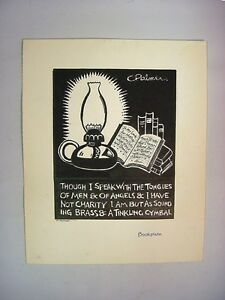 """1930-40's C.Palmer India Ink Drawing Still Life Reading Lamp """"Bookplate"""""""