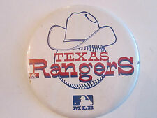"Vintage Texas Rangers Mlb Pinback - 6"" In Diameter Tub C"